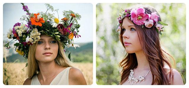 Венок из цветов на голове фото